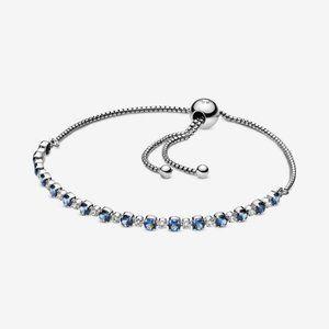 🌸PANDORA Blue and Clear Sparkle Slider Bracelet